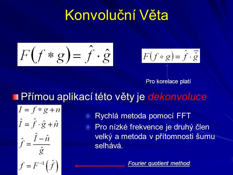 Konvoluční Věta Přímou aplikací této věty je Přímou aplikací této věty je dekonvoluce  Rychlá metoda pomocí FFT  Pro nízké frekvence je druhý člen v