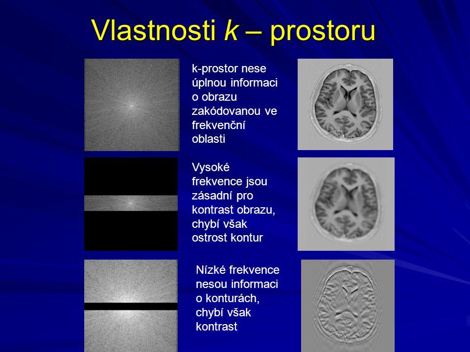 Vlastnosti k – prostoru k-prostor nese úplnou informaci o obrazu zakódovanou ve frekvenční oblasti Vysoké frekvence jsou zásadní pro kontrast obrazu, chybí však ostrost kontur Nízké frekvence nesou informaci o konturách, chybí však kontrast