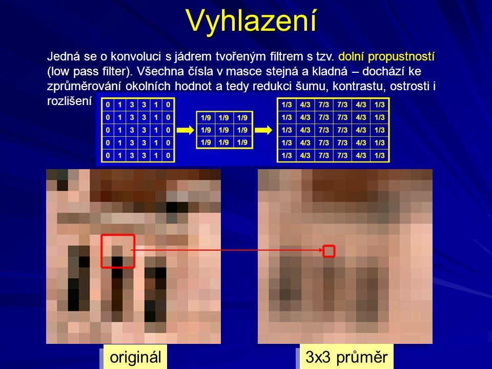 Vyhlazení originál 3x3 průměr Jedná se o konvoluci s jádrem tvořeným filtrem s tzv.
