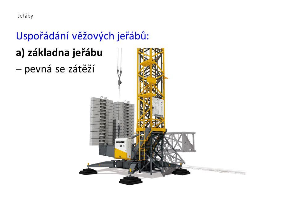 Jeřáby Uspořádání věžových jeřábů: a) základna jeřábu – pevná se zátěží