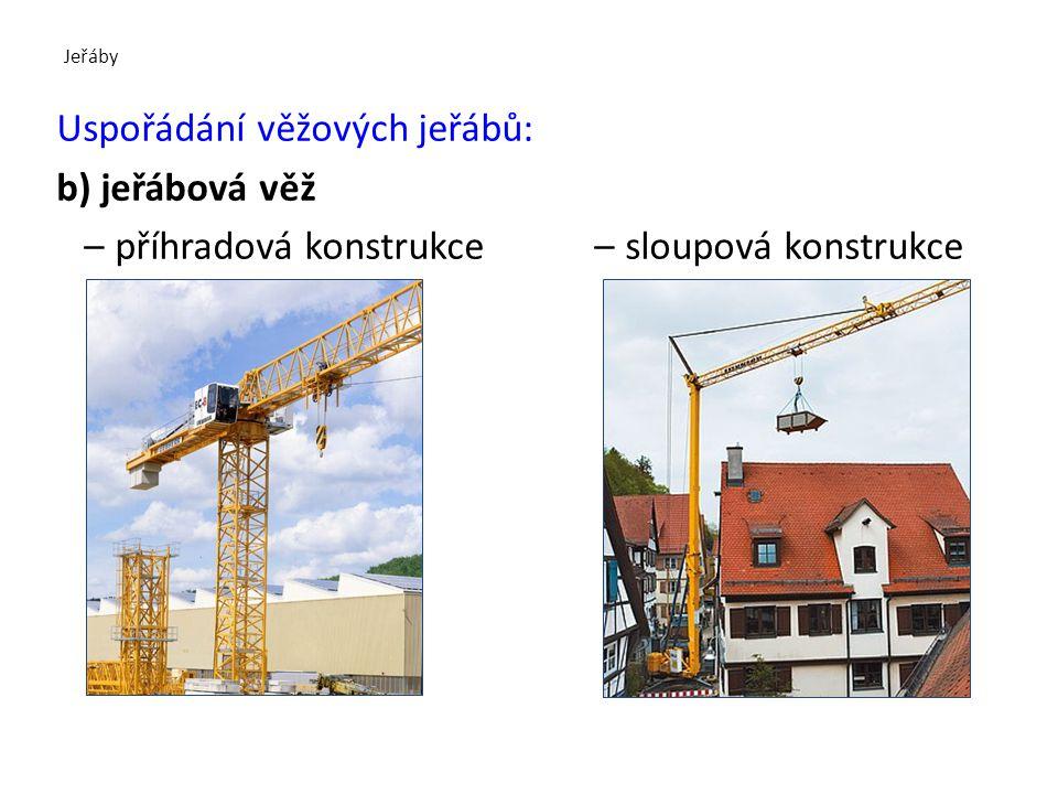 Jeřáby Uspořádání věžových jeřábů: b) jeřábová věž - sestavuje se pomocí autojeřábu z jednotlivých dílů jako stavebnice - lehké jeřáby se vyrábějí i v tzv.