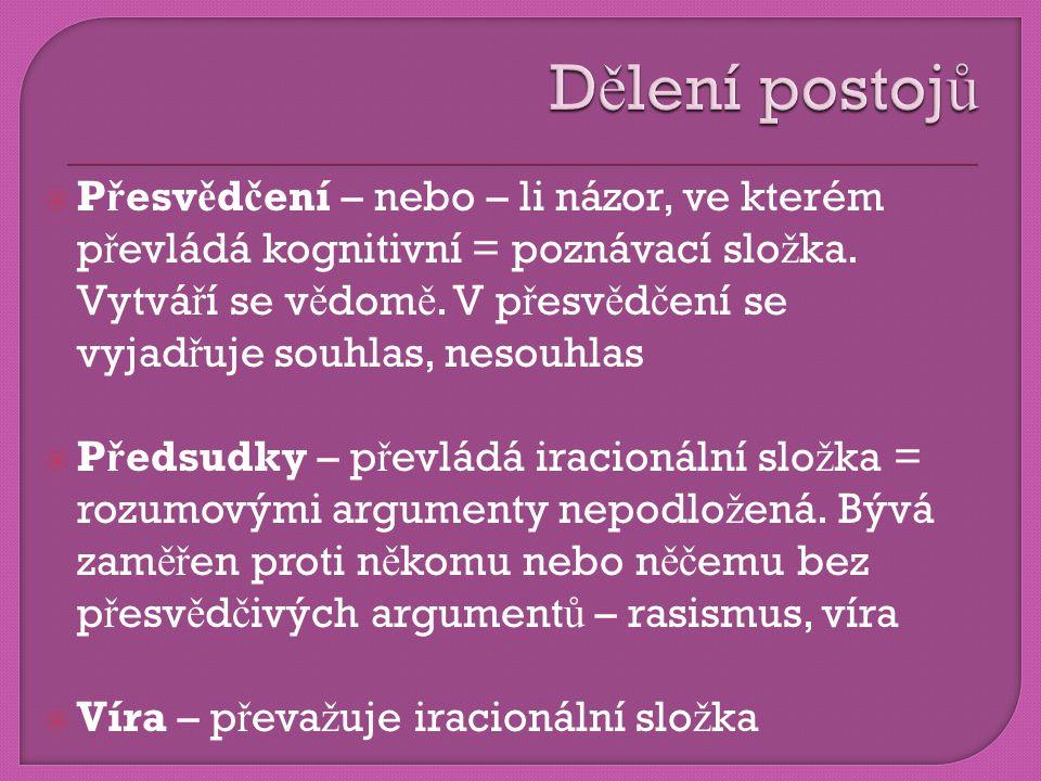  P ř esv ě d č ení – nebo – li názor, ve kterém p ř evládá kognitivní = poznávací slo ž ka.