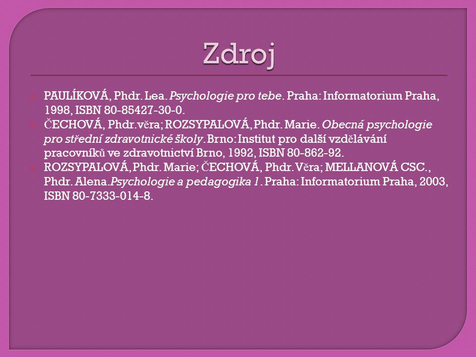  PAULÍKOVÁ, Phdr. Lea. Psychologie pro tebe. Praha: Informatorium Praha, 1998, ISBN 80-85427-30-0.  Č ECHOVÁ, Phdr.v ě ra; ROZSYPALOVÁ, Phdr. Marie.