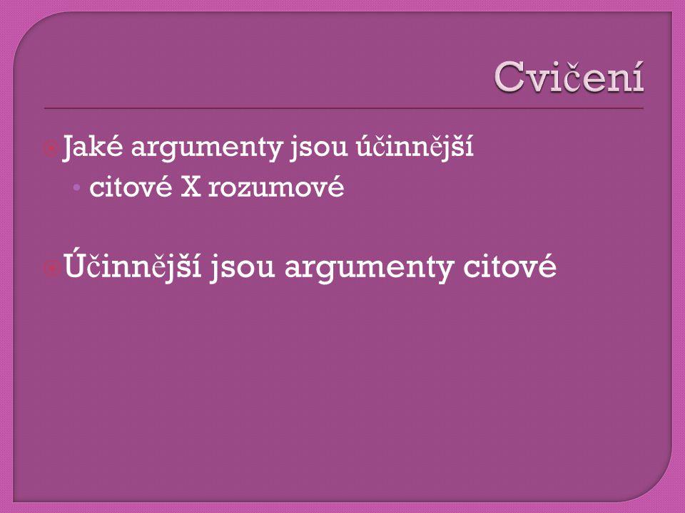  Jaké argumenty jsou ú č inn ě jší • citové X rozumové  Ú č inn ě jší jsou argumenty citové