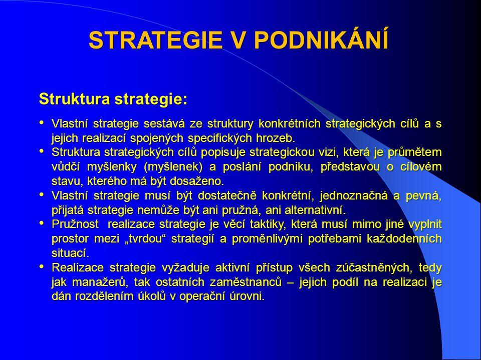 STRATEGIE V PODNIKÁNÍ Struktura strategie: • Vlastní strategie sestává ze struktury konkrétních strategických cílů a s jejich realizací spojených specifických hrozeb.