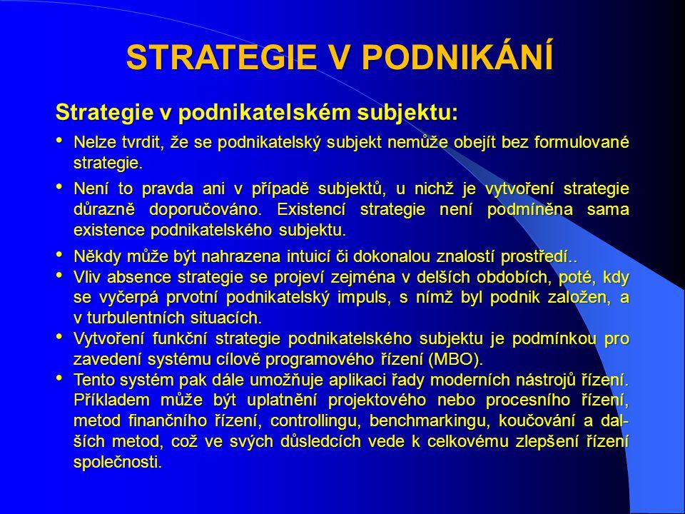 STRATEGIE V PODNIKÁNÍ Strategie v podnikatelském subjektu: • Nelze tvrdit, že se podnikatelský subjekt nemůže obejít bez formulované strategie.