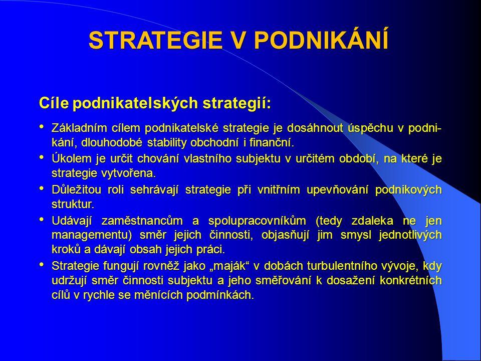 STRATEGIE V PODNIKÁNÍ Cíle podnikatelských strategií: • Základním cílem podnikatelské strategie je dosáhnout úspěchu v podni- kání, dlouhodobé stability obchodní i finanční.