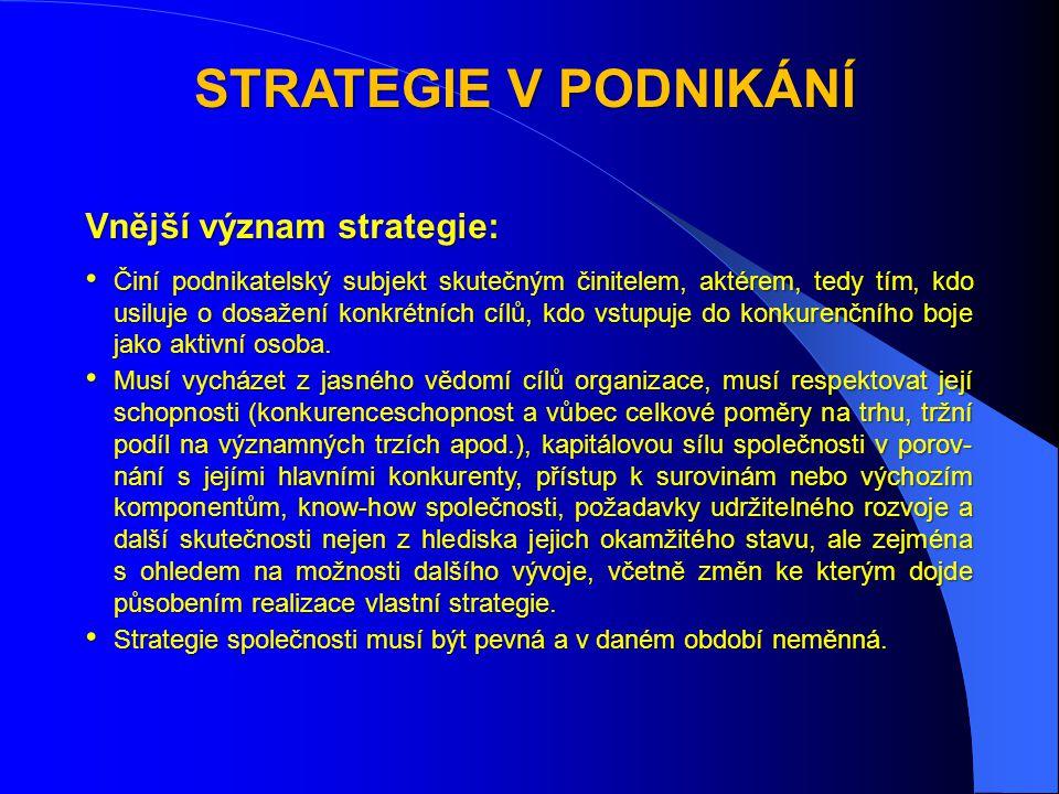 STRATEGIE V PODNIKÁNÍ Vnější význam strategie: • Činí podnikatelský subjekt skutečným činitelem, aktérem, tedy tím, kdo usiluje o dosažení konkrétních cílů, kdo vstupuje do konkurenčního boje jako aktivní osoba.