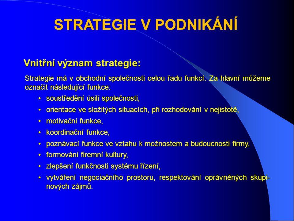 STRATEGIE V PODNIKÁNÍ Vnitřní význam strategie: Strategie má v obchodní společnosti celou řadu funkcí.