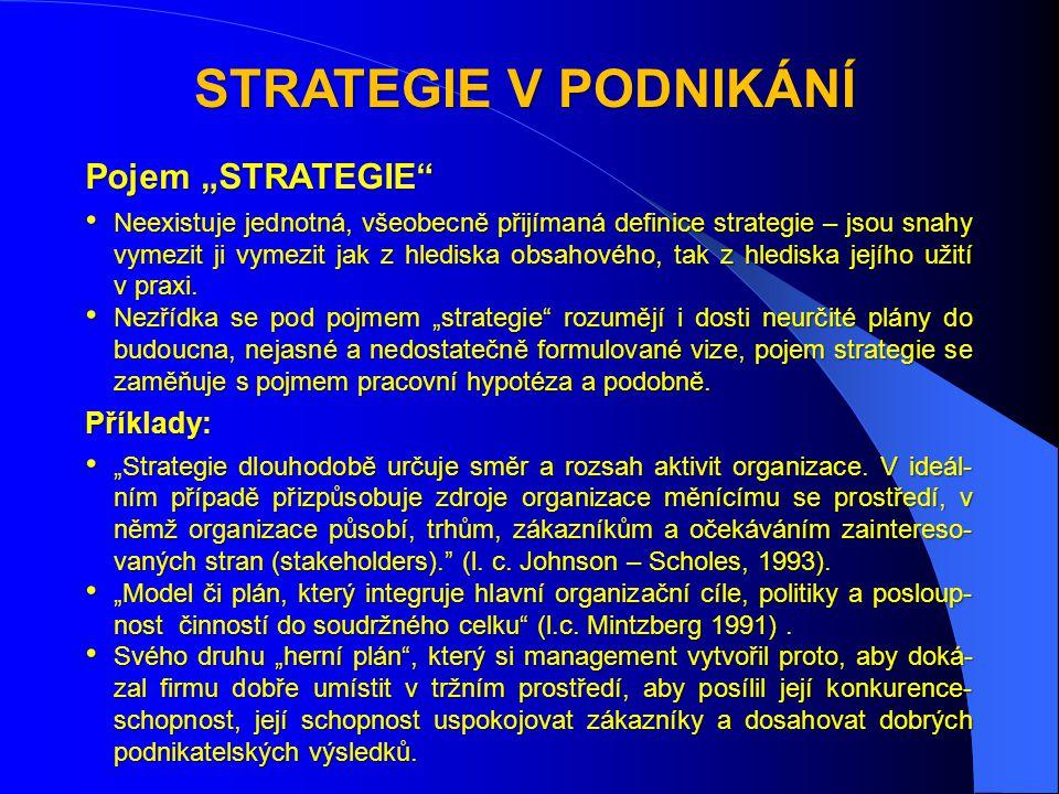 """STRATEGIE V PODNIKÁNÍ Pojem """"STRATEGIE • Neexistuje jednotná, všeobecně přijímaná definice strategie – jsou snahy vymezit ji vymezit jak z hlediska obsahového, tak z hlediska jejího užití v praxi."""