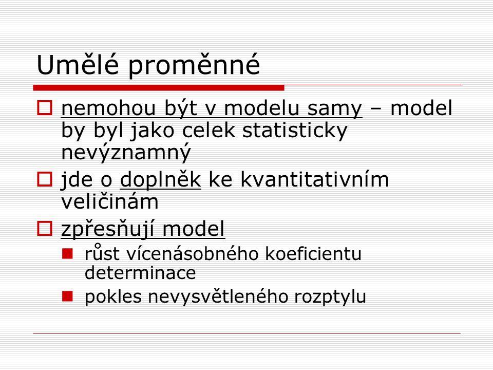Umělé proměnné  nemohou být v modelu samy – model by byl jako celek statisticky nevýznamný  jde o doplněk ke kvantitativním veličinám  zpřesňují mo