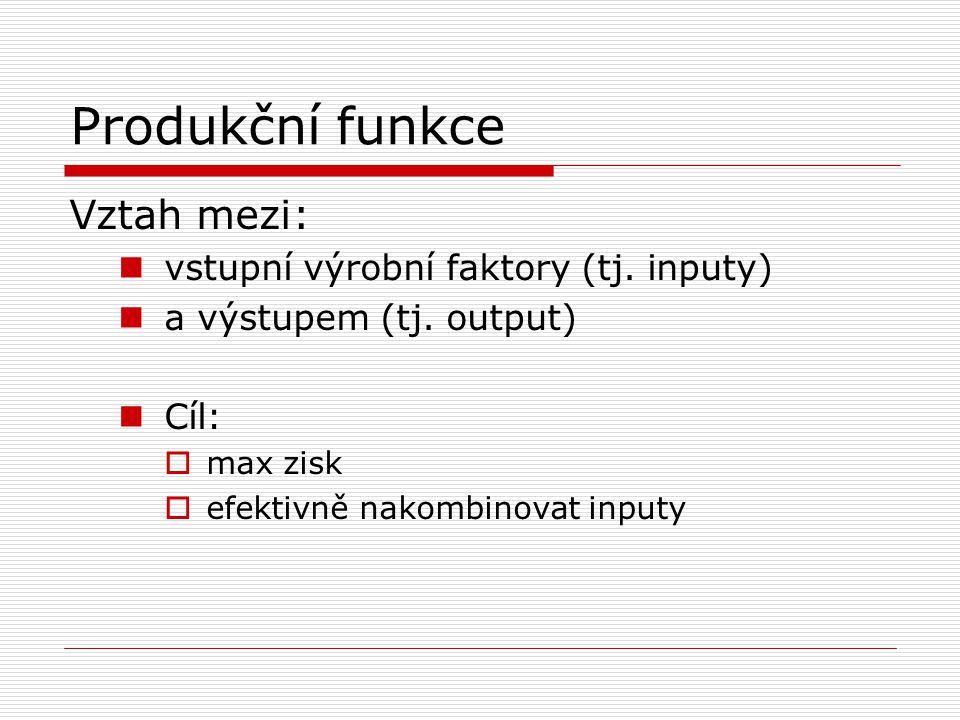 Produkční funkce Vztah mezi:  vstupní výrobní faktory (tj. inputy)  a výstupem (tj. output)  Cíl:  max zisk  efektivně nakombinovat inputy