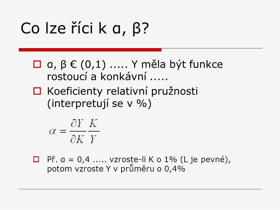 Co lze říci k α, β?  α, β € (0,1)..... Y měla být funkce rostoucí a konkávní.....  Koeficienty relativní pružnosti (interpretují se v %)  Př. α = 0
