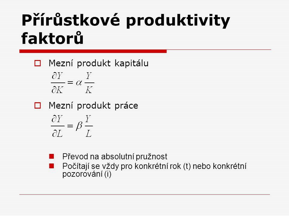 Přírůstkové produktivity faktorů  Mezní produkt kapitálu  Mezní produkt práce  Převod na absolutní pružnost  Počítají se vždy pro konkrétní rok (t