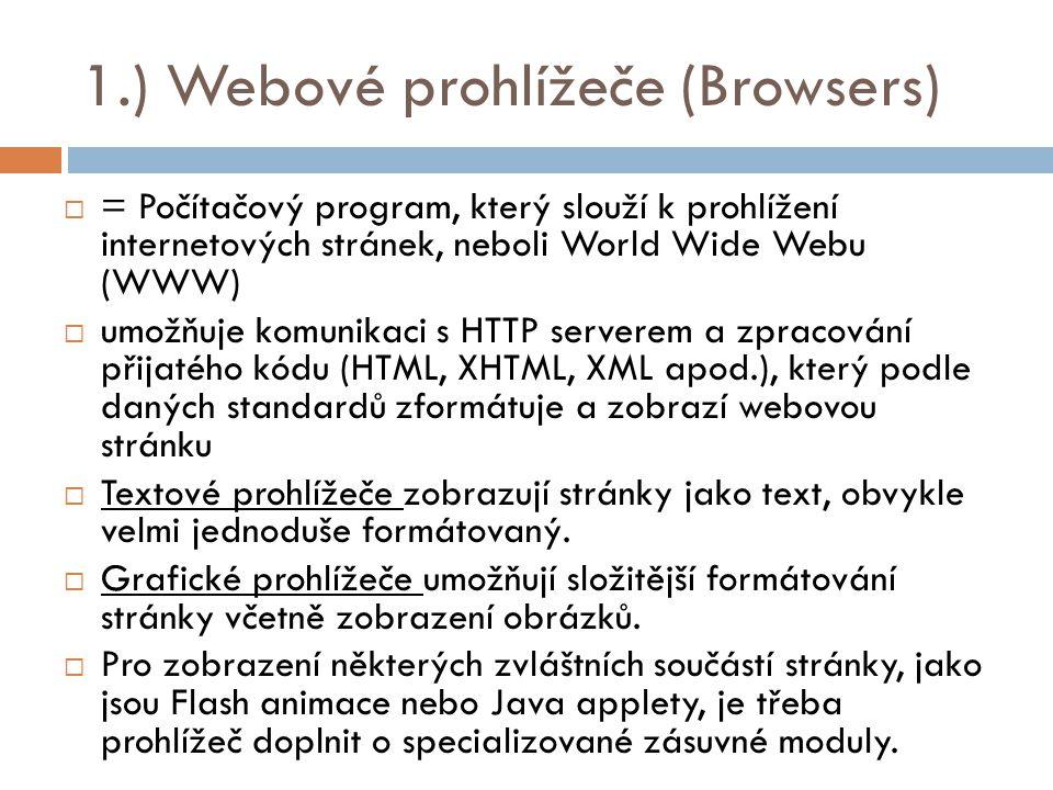 1.) Webové prohlížeče (Browsers)  = Počítačový program, který slouží k prohlížení internetových stránek, neboli World Wide Webu (WWW)  umožňuje komunikaci s HTTP serverem a zpracování přijatého kódu (HTML, XHTML, XML apod.), který podle daných standardů zformátuje a zobrazí webovou stránku  Textové prohlížeče zobrazují stránky jako text, obvykle velmi jednoduše formátovaný.