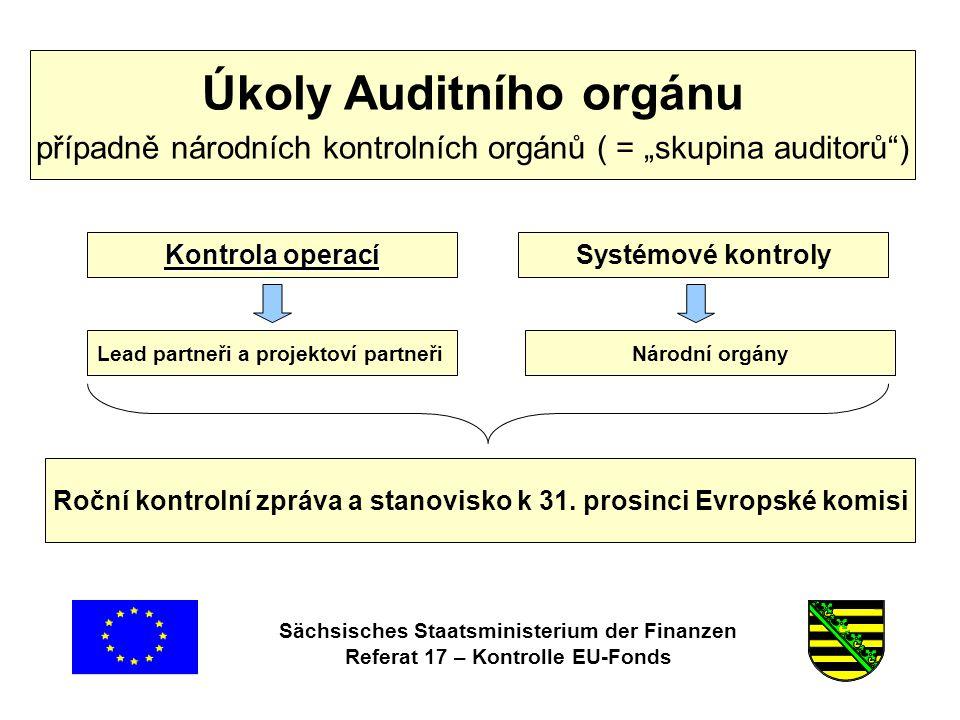 Sächsisches Staatsministerium der Finanzen Referat 17 – Kontrolle EU-Fonds Podklady ke Smlouvě Smlouva o poskytnutí dotace Realizační dokument (RD) Zadávání veřejných zakázek § 11 Smlouvy o poskytnutí dotace Příloha pro české kooperační partnery Bod 5.3.7 obecné části RD, národní části vždy bod 1.2 RD a Příloha k RD •Lhůta účelového vázání prostředků § 6 Smlouvy o poskytnutí dotace •Informační a publikační povinnosti: § 13 Smlouvy o poskytnutí dotace a Příloha ke Smlouvě o poskytnutí dotace •Archivační povinnosti: § 15 Smlouvy o poskytnutí dotace