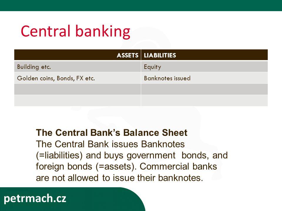 Central banking ASSETSLIABILITIES Building etc.Equity Golden coins, Bonds, FX etc.Banknotes issued The Central Bank's Balance Sheet The Central Bank issues Banknotes (=liabilities) and buys government bonds, and foreign bonds (=assets).