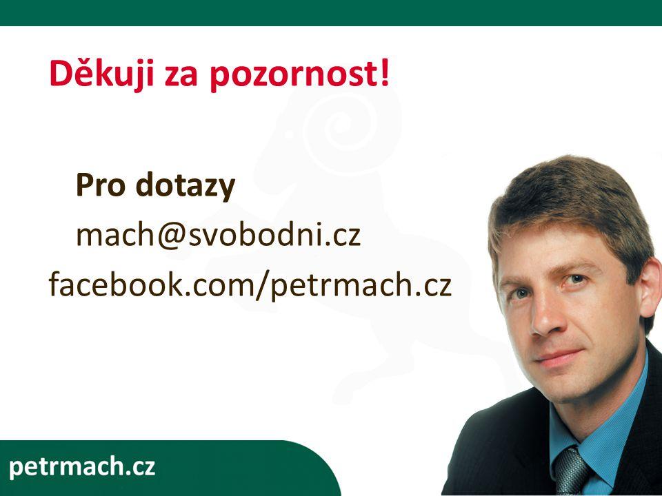 Děkuji za pozornost! Pro dotazy mach@svobodni.cz facebook.com/petrmach.cz