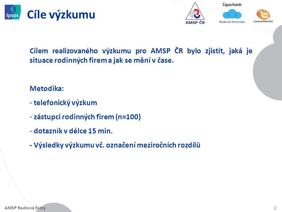 Cíle výzkumu 2 Cílem realizovaného výzkumu pro AMSP ČR bylo zjistit, jaká je situace rodinných firem a jak se mění v čase.
