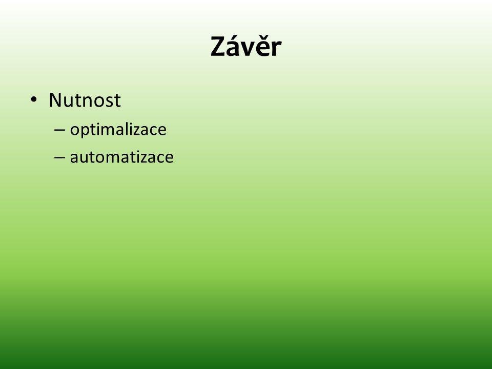 Závěr • Nutnost – optimalizace – automatizace
