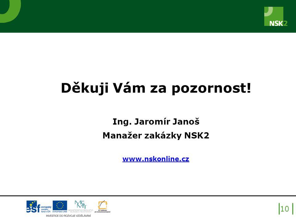 Děkuji Vám za pozornost! Ing. Jaromír Janoš Manažer zakázky NSK2 www.nskonline.cz 10