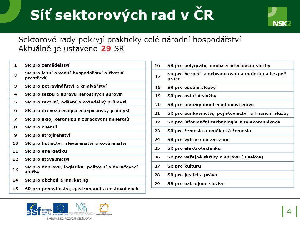 Síť sektorových rad v ČR 4 Sektorové rady pokryjí prakticky celé národní hospodářství Aktuálně je ustaveno 29 SR 1SR pro zemědělství 2 SR pro lesní a vodní hospodářství a životní prostředí 3SR pro potravinářství a krmivářství 4SR pro těžbu a úpravu nerostných surovin 5SR pro textilní, oděvní a kožedělný průmysl 6SR pro dřevozpracující a papírenský průmysl 7SR pro sklo, keramiku a zpracování minerálů 8SR pro chemii 9SR pro strojírenství 10SR pro hutnictví, slévárenství a kovárenství 11SR pro energetiku 12SR pro stavebnictví 13 SR pro dopravu, logistiku, poštovní a doručovací služby 14SR pro obchod a marketing 15SR pro pohostinství, gastronomii a cestovní ruch 16SR pro polygrafii, média a informační služby 17 SR pro bezpeč.