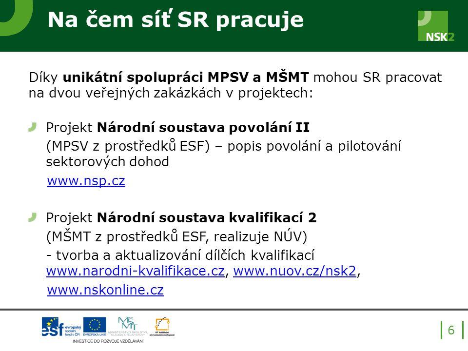 Na čem síť SR pracuje Díky unikátní spolupráci MPSV a MŠMT mohou SR pracovat na dvou veřejných zakázkách v projektech: Projekt Národní soustava povolání II (MPSV z prostředků ESF) – popis povolání a pilotování sektorových dohod www.nsp.cz Projekt Národní soustava kvalifikací 2 (MŠMT z prostředků ESF, realizuje NÚV) - tvorba a aktualizování dílčích kvalifikací www.narodni-kvalifikace.cz, www.nuov.cz/nsk2, www.narodni-kvalifikace.czwww.nuov.cz/nsk2 www.nskonline.cz 6