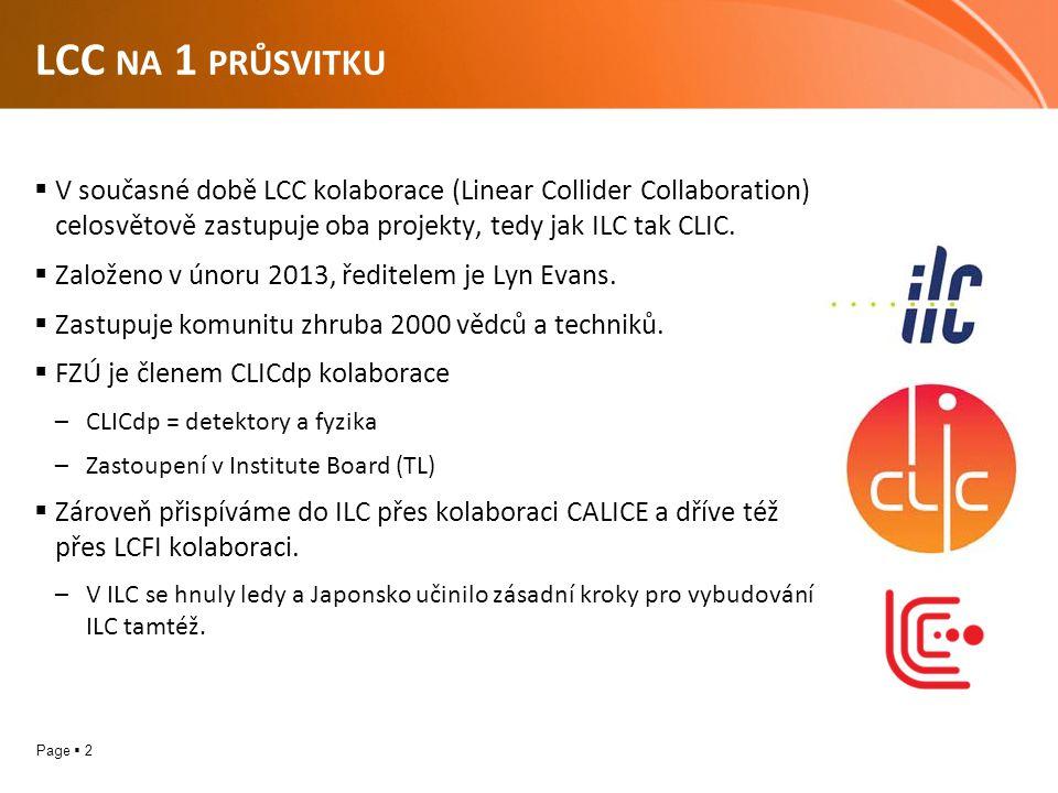 Page  2 LCC NA 1 PRŮSVITKU  V současné době LCC kolaborace (Linear Collider Collaboration) celosvětově zastupuje oba projekty, tedy jak ILC tak CLIC