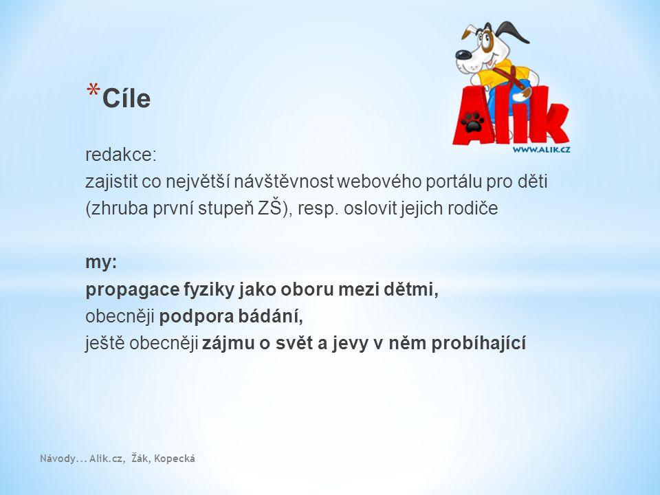 Návody... Alik.cz, Žák, Kopecká * Cíle redakce: zajistit co největší návštěvnost webového portálu pro děti (zhruba první stupeň ZŠ), resp. oslovit jej