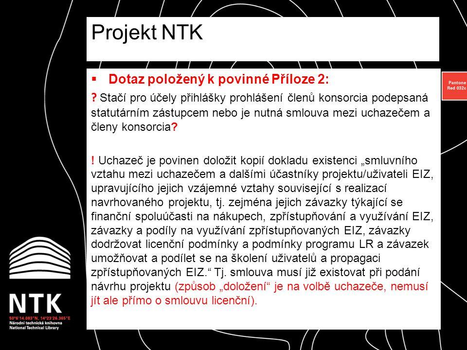 Řešení pro projekt NTK = Prohlášení  Budou zaslána jednotlivým kontaktním osobám dne 17.