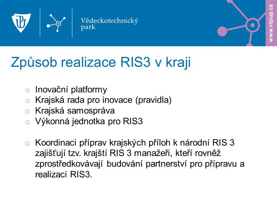 Způsob realizace RIS3 v kraji o Inovační platformy o Krajská rada pro inovace (pravidla) o Krajská samospráva o Výkonná jednotka pro RIS3 o Koordinaci příprav krajských příloh k národní RIS 3 zajišťují tzv.