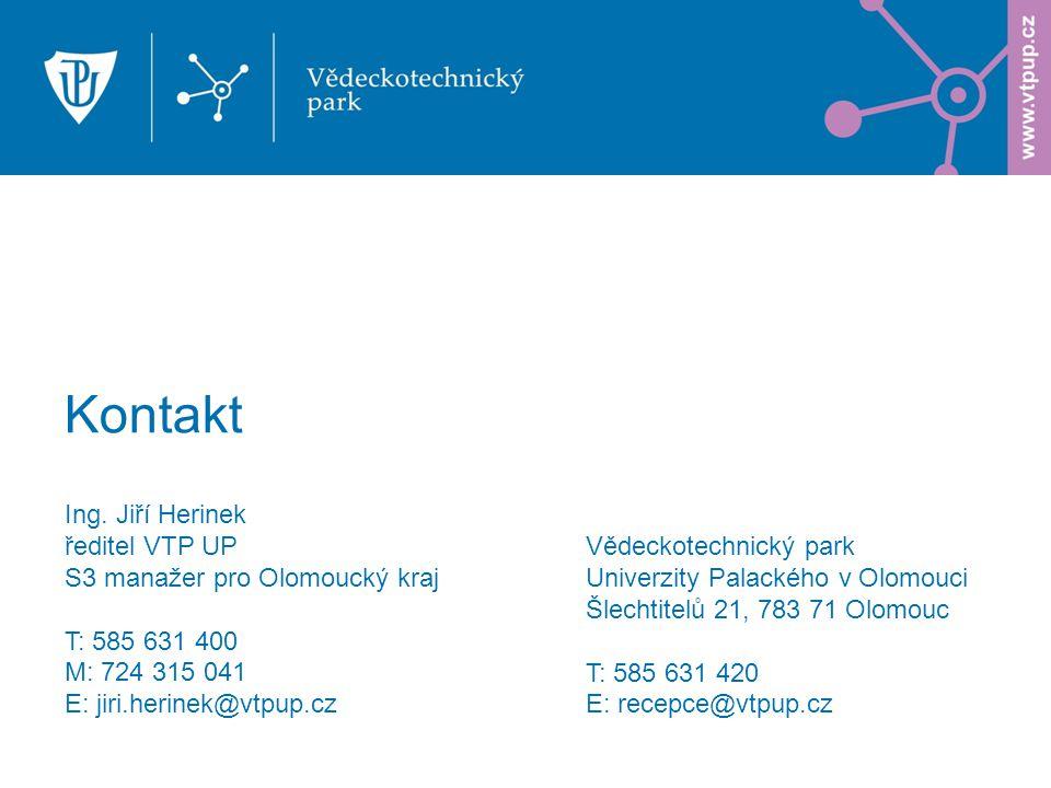 Ing. Jiří Herinek ředitel VTP UP S3 manažer pro Olomoucký kraj T: 585 631 400 M: 724 315 041 E: jiri.herinek@vtpup.cz Kontakt Vědeckotechnický park Un