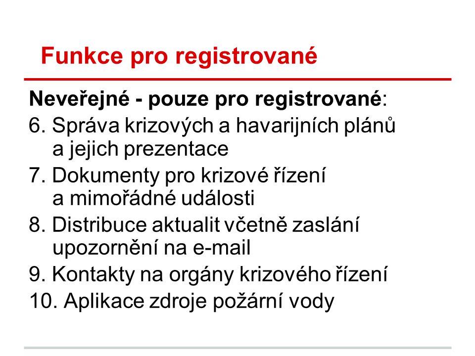 Funkce pro registrované Neveřejné - pouze pro registrované: 6. Správa krizových a havarijních plánů a jejich prezentace 7. Dokumenty pro krizové řízen