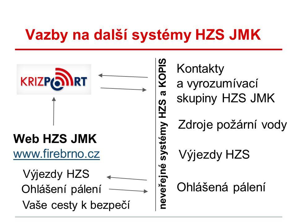 neveřejné systémy HZS a KOPIS Vazby na další systémy HZS JMK Zdroje požární vody Kontakty a vyrozumívací skupiny HZS JMK Výjezdy HZS Web HZS JMK www.f