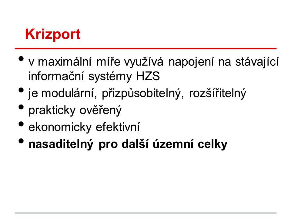 Krizport • v maximální míře využívá napojení na stávající informační systémy HZS • je modulární, přizpůsobitelný, rozšířitelný • prakticky ověřený • e