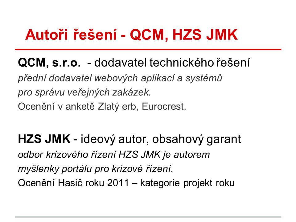 Autoři řešení - QCM, HZS JMK QCM, s.r.o. - dodavatel technického řešení přední dodavatel webových aplikací a systémů pro správu veřejných zakázek. Oce