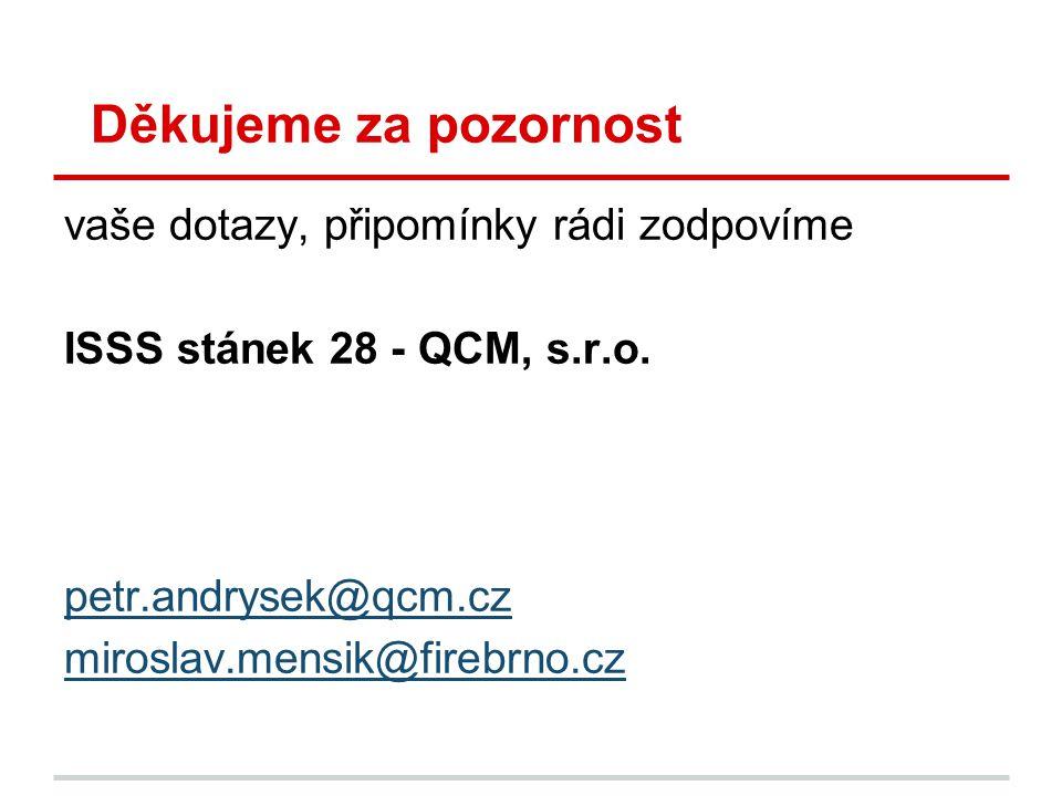 Děkujeme za pozornost vaše dotazy, připomínky rádi zodpovíme ISSS stánek 28 - QCM, s.r.o. petr.andrysek@qcm.cz miroslav.mensik@firebrno.cz