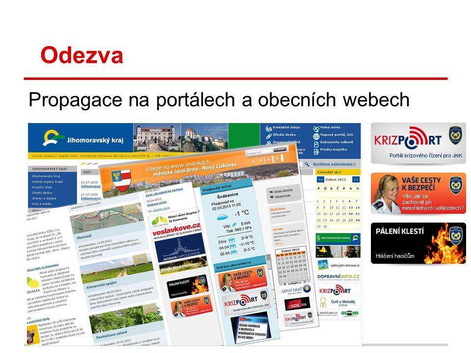 Odezva Propagace na portálech a obecních webech