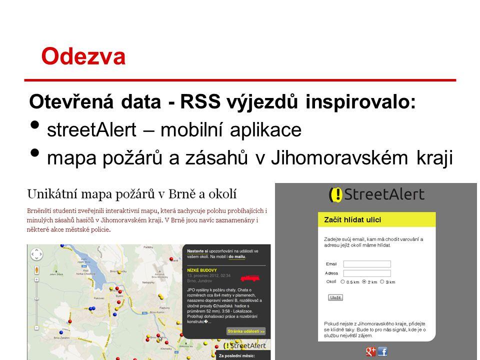 Odezva Otevřená data - RSS výjezdů inspirovalo: • streetAlert – mobilní aplikace • mapa požárů a zásahů v Jihomoravském kraji