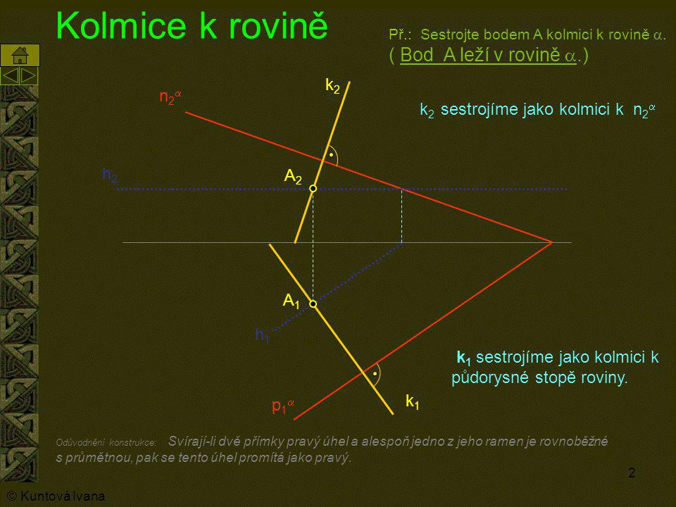 2 Kolmice k rovině k 1 sestrojíme jako kolmici k půdorysné stopě roviny. A1A1 Př.: Sestrojte bodem A kolmici k rovině . ( Bod A leží v rovině .) h1h
