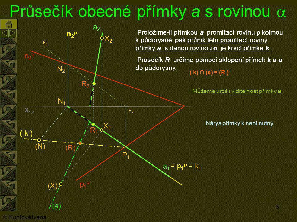 5 Průsečík obecné přímky a s rovinou  p1p1 n2n2 a1a1 a2a2 = p 1  = k 1 P1P1 P2P2 N2N2 N1N1 k2k2 R2R2 R1R1 Proložíme-li přímkou a promítací rovin