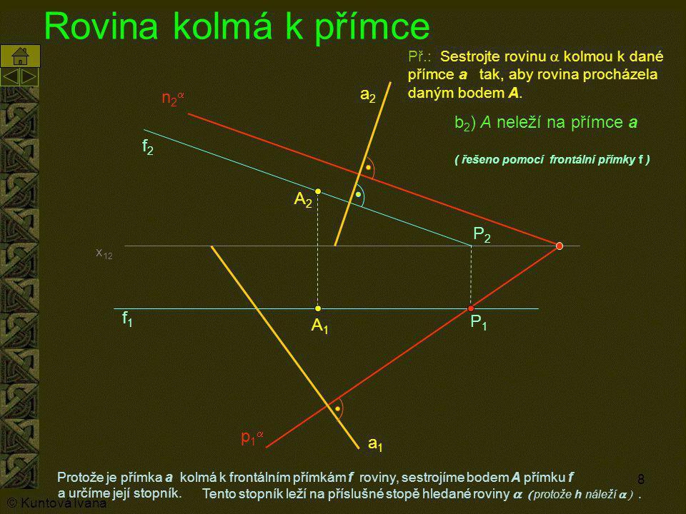 8 Rovina kolmá k přímce Protože je přímka a kolmá k frontálním přímkám f roviny, sestrojíme bodem A přímku f A1A1 Př.: Sestrojte rovinu  kolmou k da