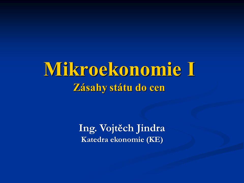 Mikroekonomie I Zásahy státu do cen Ing. Vojtěch JindraIng. Vojtěch Jindra Katedra ekonomie (KE)Katedra ekonomie (KE)