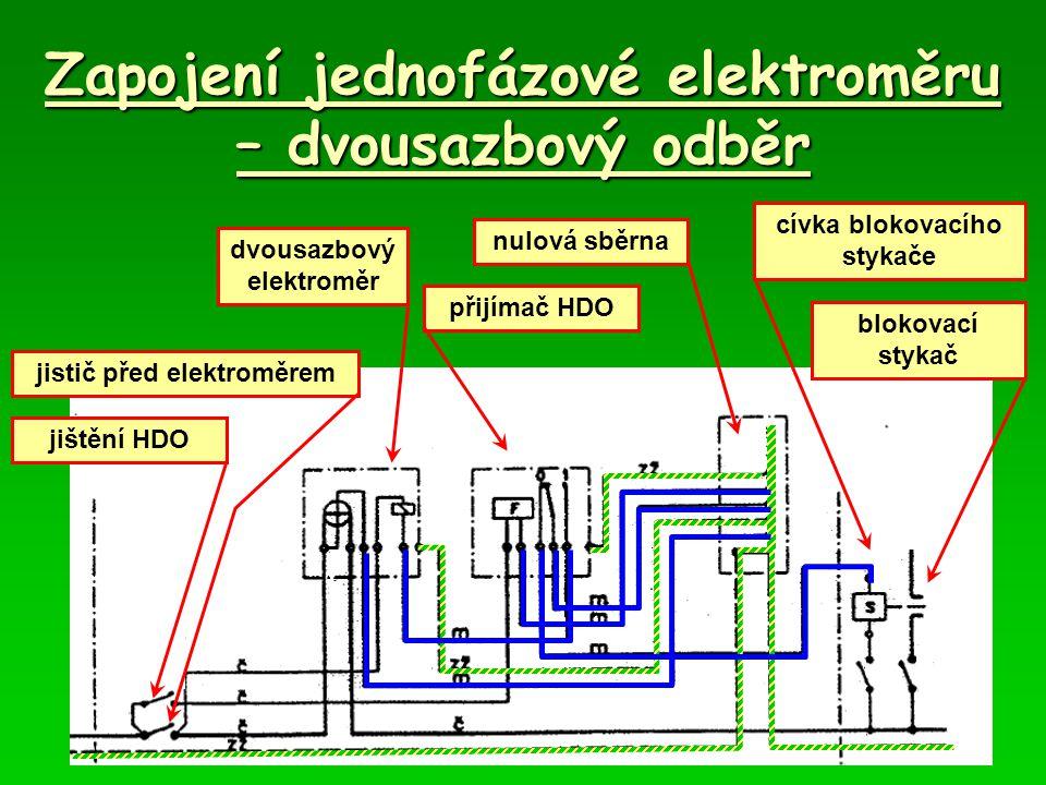 Zapojení jednofázové elektroměru – dvousazbový odběr jistič před elektroměrem jištění HDO dvousazbový elektroměr přijímač HDO blokovací stykač cívka b