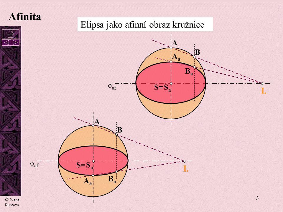 3 Afinita Elipsa jako afinní obraz kružnice o af A AaAa B BaBa S=SaSa I. o af A AaAa B BaBa S=SaSa I. © Ivana Kuntová cc