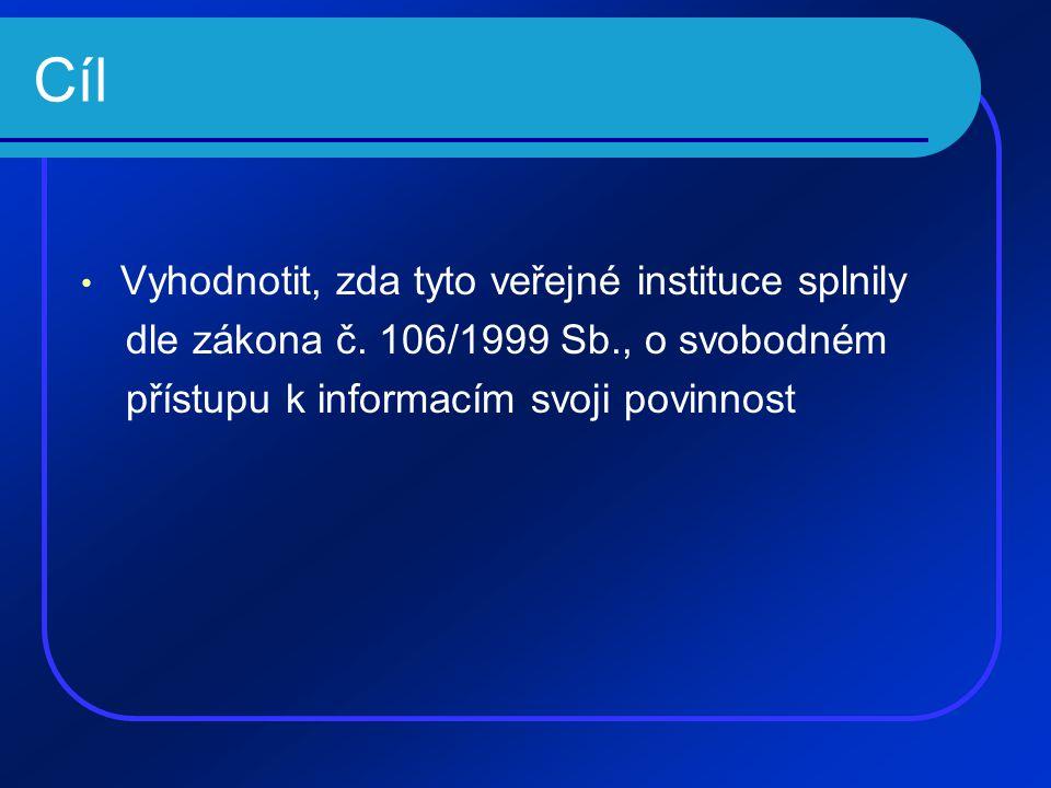Cíl • Vyhodnotit, zda tyto veřejné instituce splnily dle zákona č.