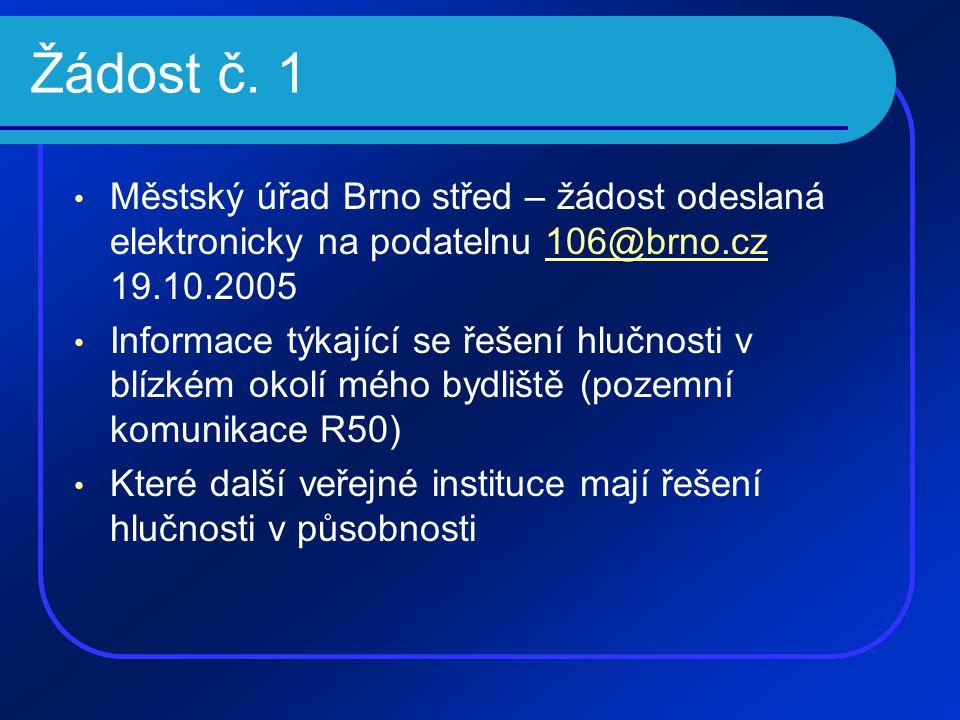Žádost č. 1 • Městský úřad Brno střed – žádost odeslaná elektronicky na podatelnu 106@brno.cz 19.10.2005106@brno.cz • Informace týkající se řešení hlu