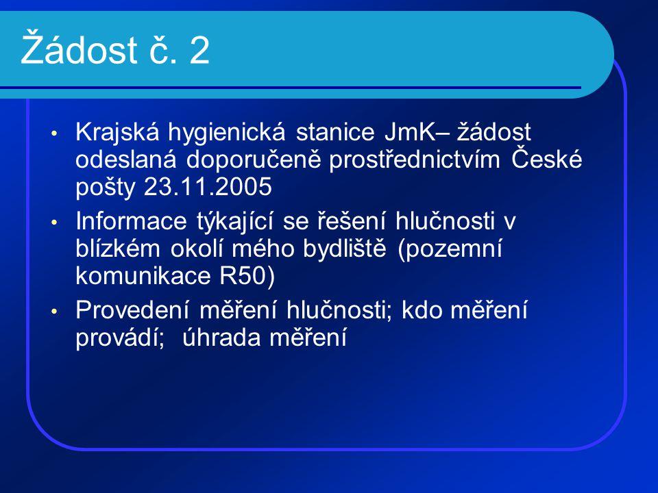 Žádost č. 2 • Krajská hygienická stanice JmK– žádost odeslaná doporučeně prostřednictvím České pošty 23.11.2005 • Informace týkající se řešení hlučnos