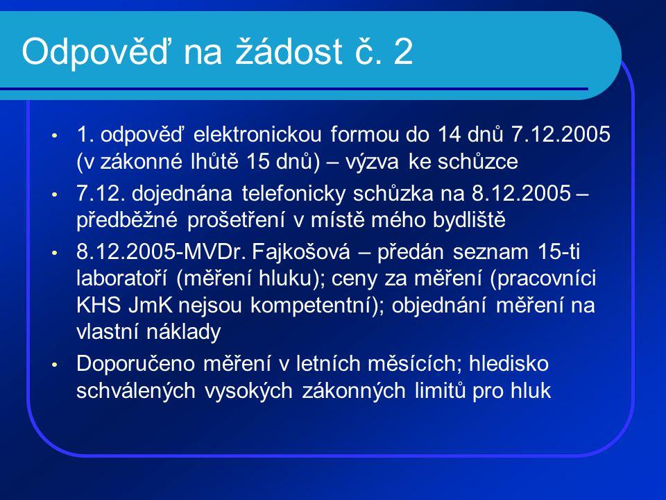 Odpověď na žádost č. 2 • 1. odpověď elektronickou formou do 14 dnů 7.12.2005 (v zákonné lhůtě 15 dnů) – výzva ke schůzce • 7.12. dojednána telefonicky