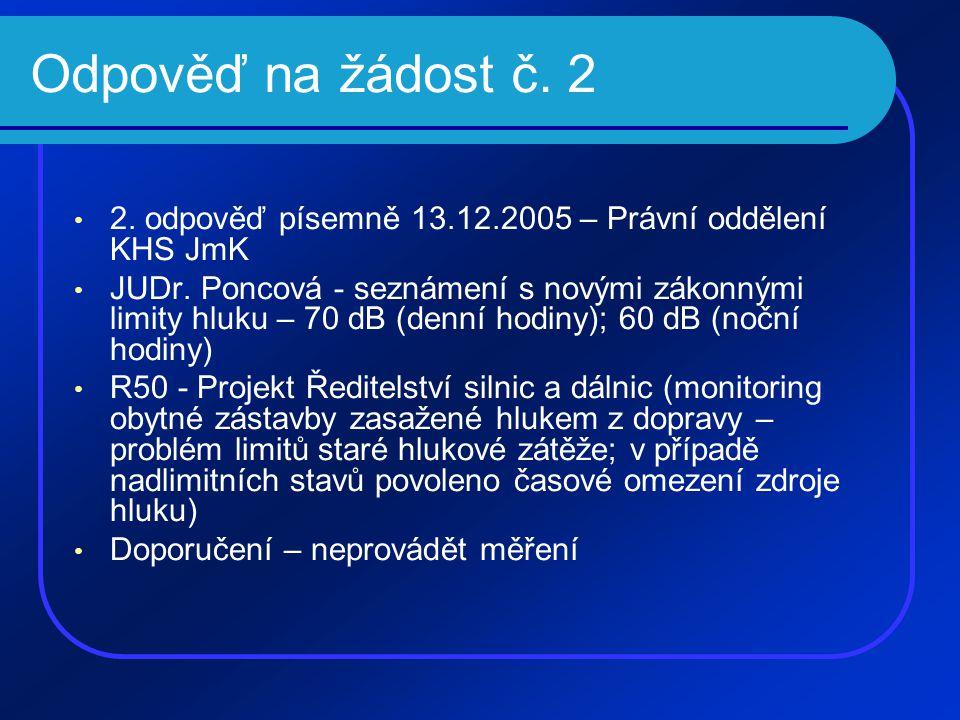Odpověď na žádost č. 2 • 2. odpověď písemně 13.12.2005 – Právní oddělení KHS JmK • JUDr. Poncová - seznámení s novými zákonnými limity hluku – 70 dB (